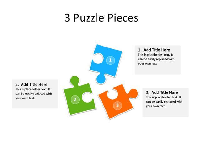 PowerPoint Slide - Puzzle Diagram - 3 Pieces - Multicolor