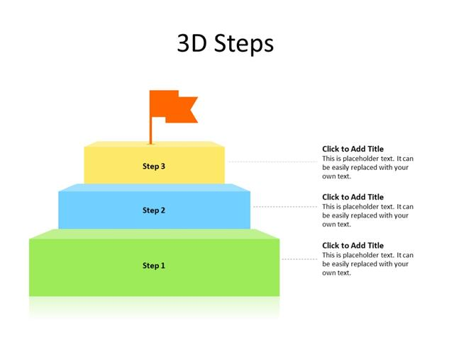 PowerPoint Slide - Stairs Diagram - 3 Stairs - Multicolor