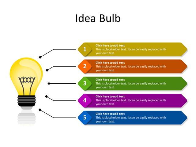 PowerPoint Slide - Marketing Diagram - 5 Ideas - Multicolor