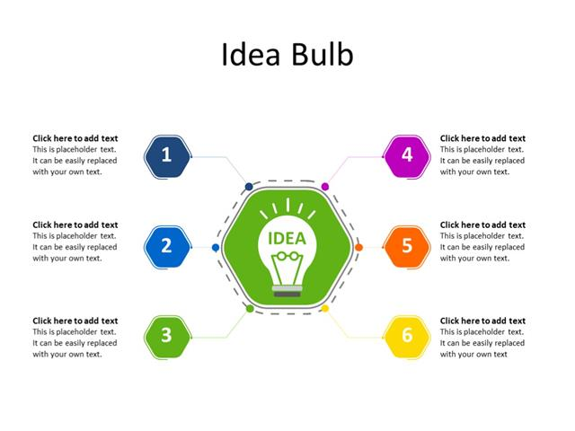 PowerPoint Slide - Marketing Diagram - 6 Ideas - Multicolor