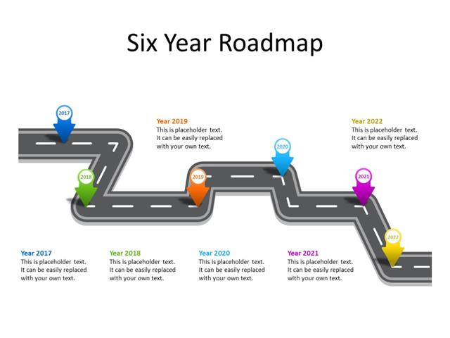 PowerPoint Slide - Timeline Diagram - 6 Milestones - Multicolor