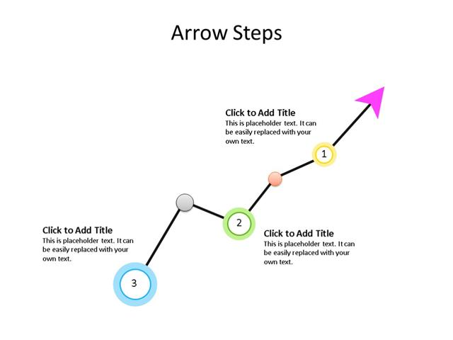 PowerPoint Slide - Arrow Diagram - 3 Steps - Multicolor