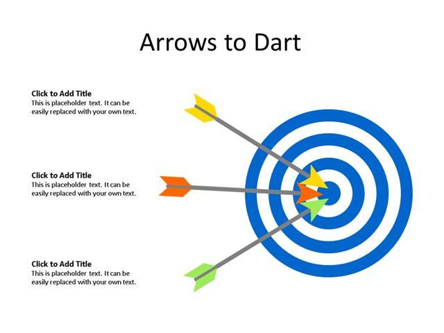 PowerPoint Slide - Target Board - 3 Arrows - Multicolor