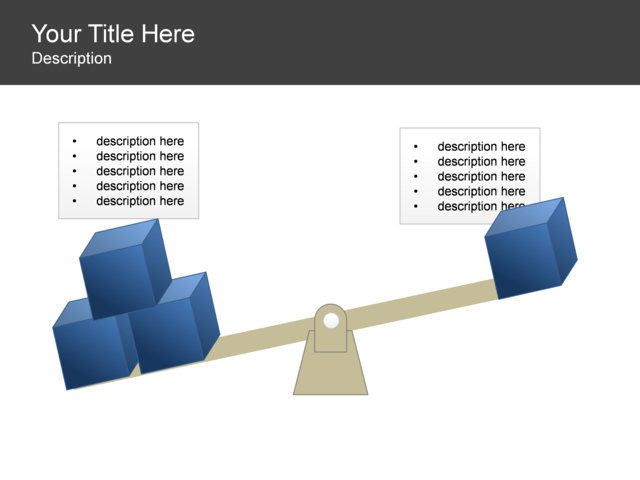 PowerPoint Slide - Balance Diagram - Cubes - Scale - 2 Text Boxes ...