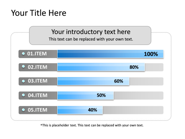 powerpoint slide - bar chart - 5 bars - blue - 779-1, Powerpoint templates