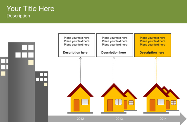 Powerpoint slide basic timeline diagram houses for Building a house timeline