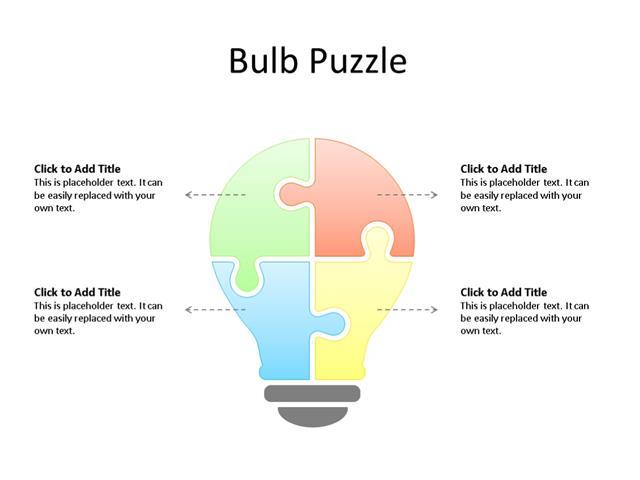 PowerPoint Slide - Puzzle Diagram - 4 Puzzle - Multicolor