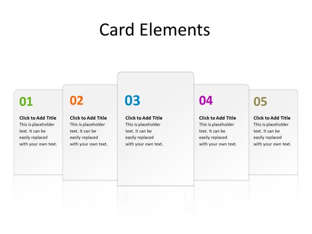 PowerPoint Slide - Carousel - 5 cards - Multicolor