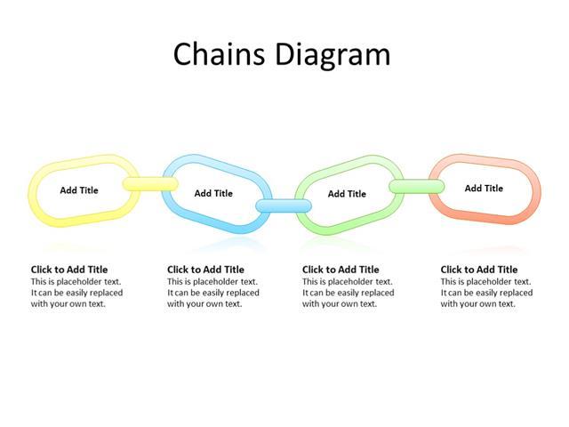 PowerPoint Slide - chain diagram - 4 steps - Multicolor