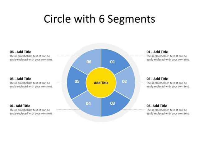 PowerPoint Slide - Segment Diagram - 6 Segments - Multicolor