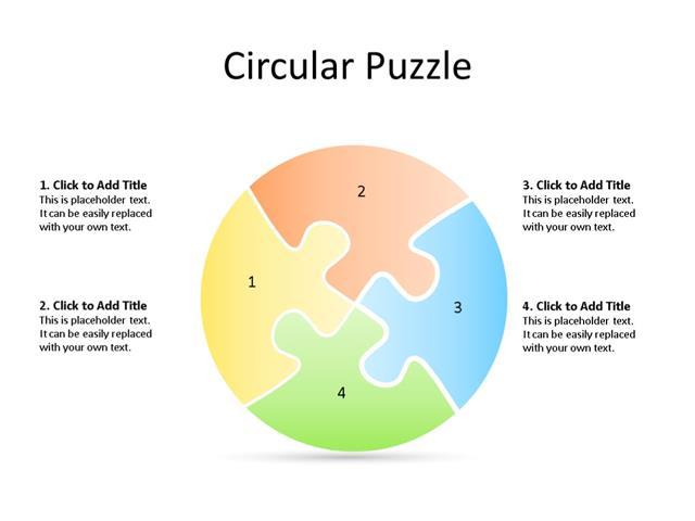 PowerPoint Slide - Puzzle Diagram - 4 Segments - Multicolor
