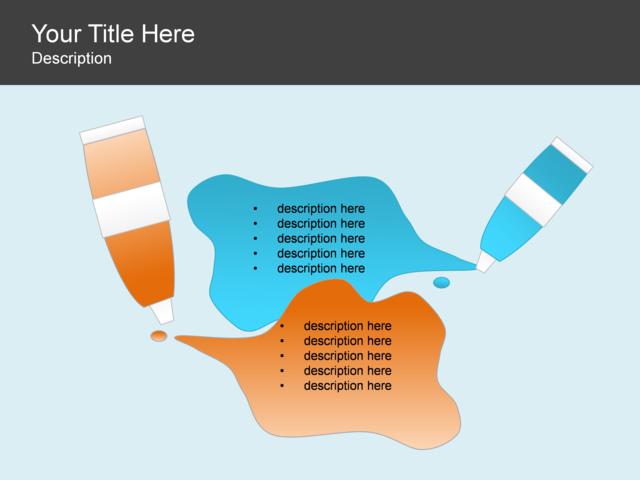 powerpoint slide - comparison list diagram - paint - 2 blocks, Powerpoint templates