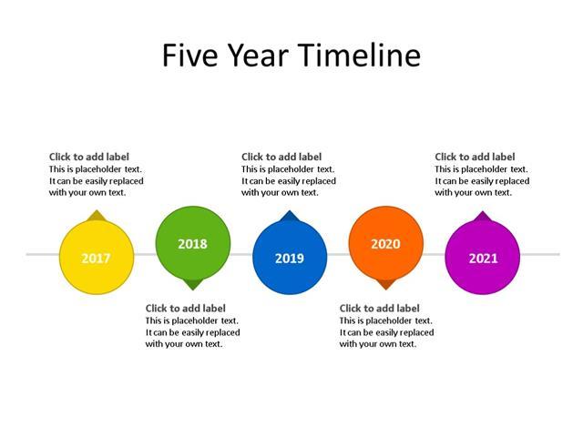 PowerPoint Slide - Timeline Diagram - 5 Steps - Multicolor