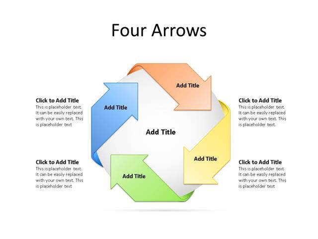 PowerPoint Slide - Arrow Diagram - 4 Arrows - Multicolor