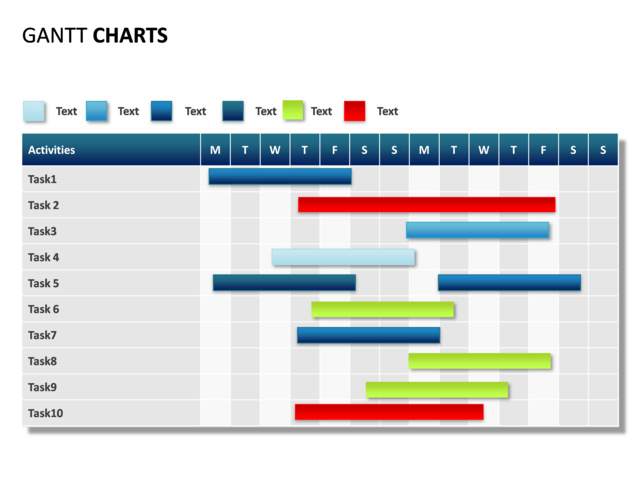 Powerpoint Slide Gantt Chart 14 Days 10 Tasks P31
