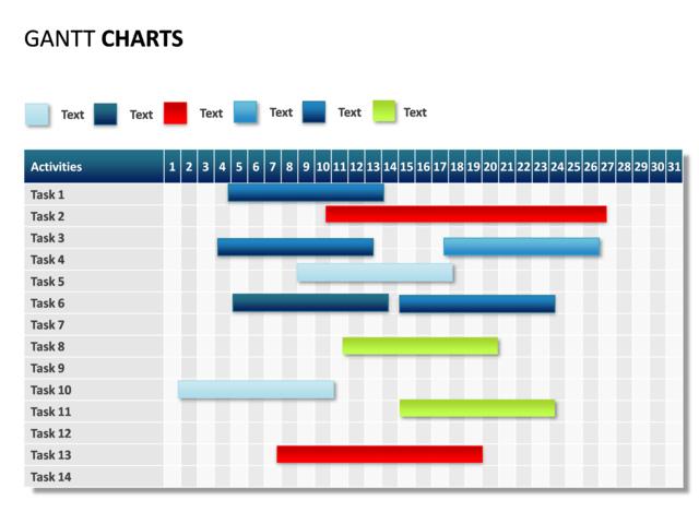 PowerPoint Slide - Gantt Chart - 31 days - 14 tasks - p31-12 ...