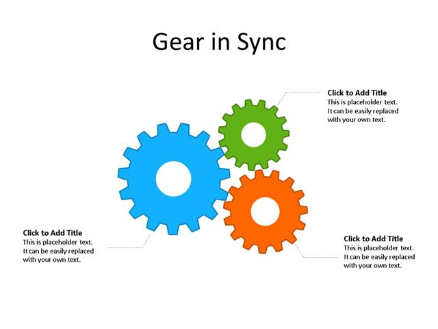 PowerPoint Slide - Gear Diagram - 3 Gears - Multicolor