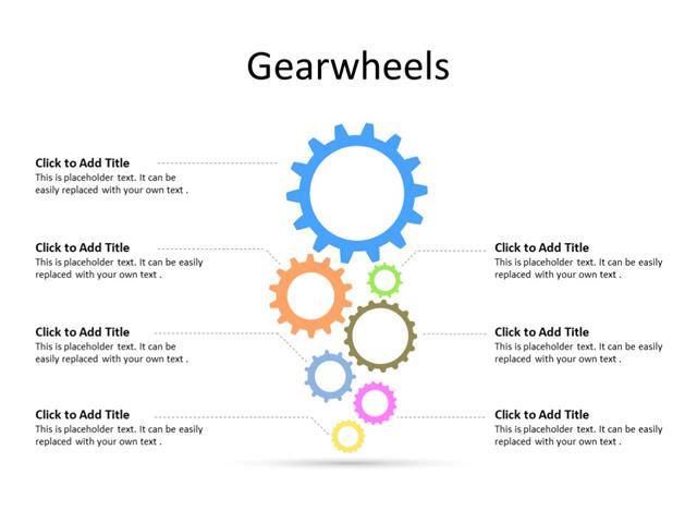PowerPoint Slide - Gear Diagram - 7 Gears - Multicolor