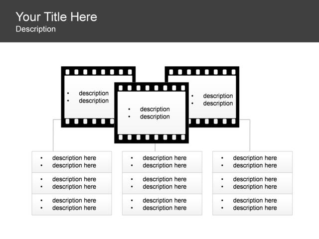 powerpoint slide - hierarchy diagram - filmstrip - 3 blocks - black