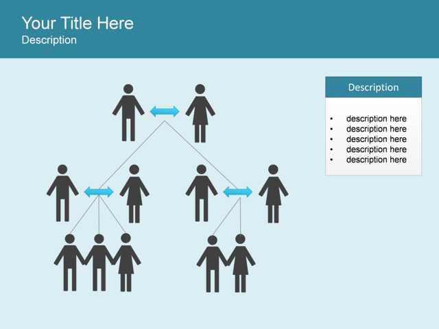 powerpoint slide - hierarchy diagram - people - 1 block - blue, Powerpoint templates