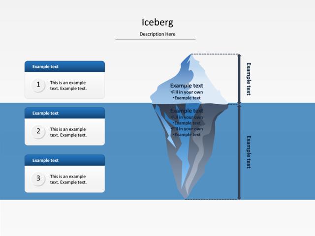 powerpoint slide iceberg diagram iceberg water 3 lists
