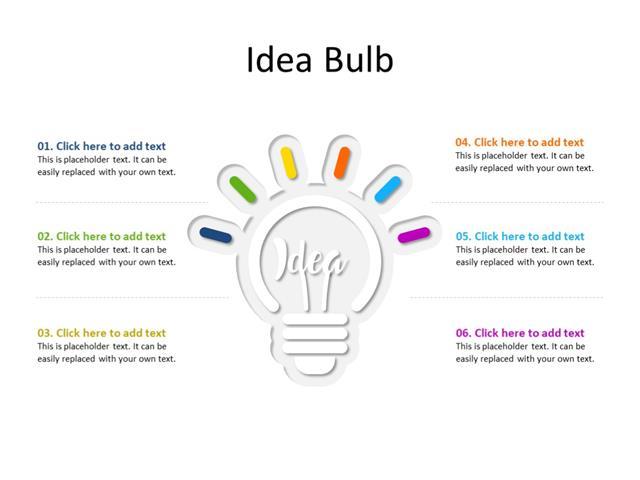 PowerPoint Slide - Idea concept - 1 bulb - Multicolor