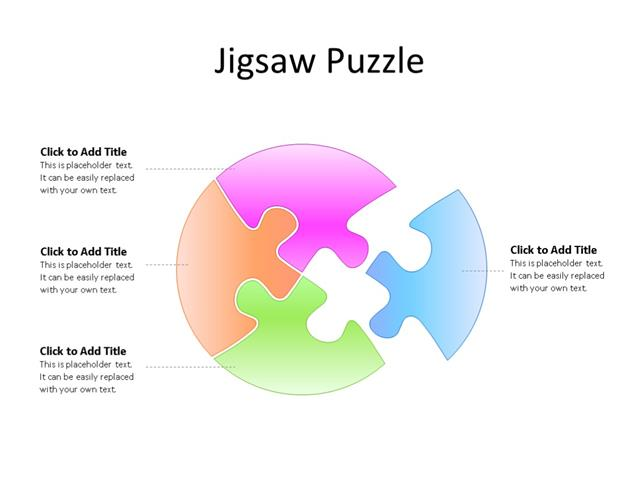 PowerPoint Slide - Puzzle Diagram - 4 Pieces - Multicolor
