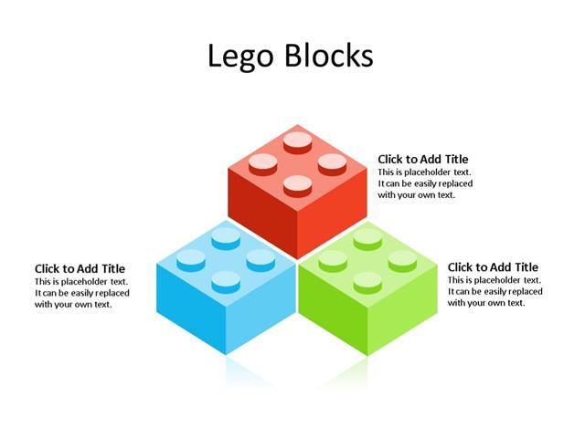 PowerPoint Slide - Lego Blocks Diagram - 3 Pieces - Multicolor