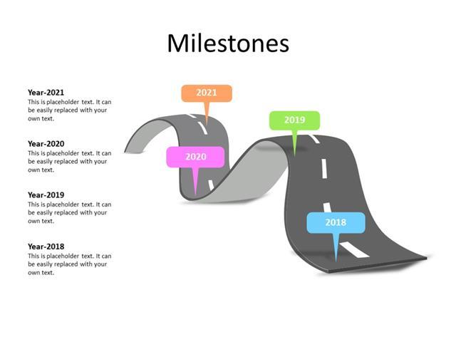 PowerPoint Slide - Timeline Diagram - 4 steps - Multicolor