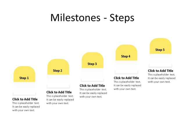 PowerPoint Slide - Timeline Diagram - 5 Steps - Multicolor