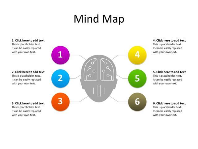 PowerPoint Slide - Mindmap diagram - 6 connections - Multicolor