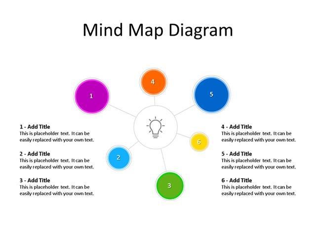 PowerPoint Slide - Mind map Diagram - 6 Ideas - Multicolor