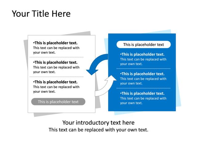 Powerpoint Slide Opposing Ideas Diagram 2 Boxes Blue
