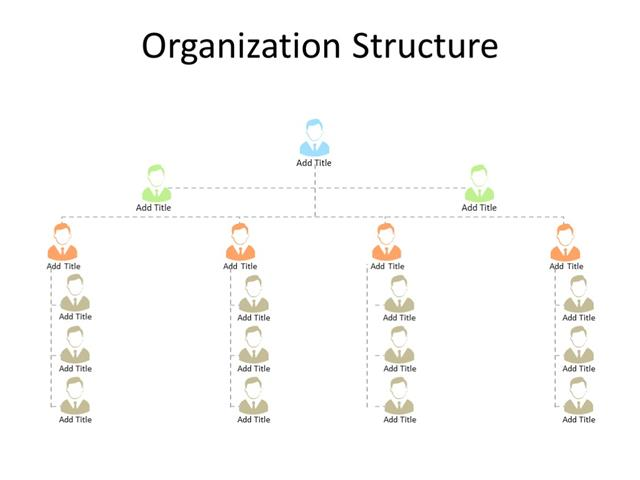 PowerPoint Slide - Organization chart - 4 level - Multicolor
