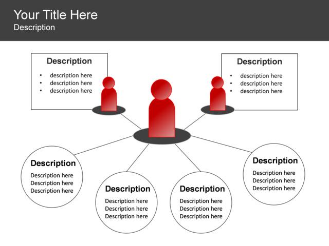 powerpoint slide - people network diagram - 6 blocks - red