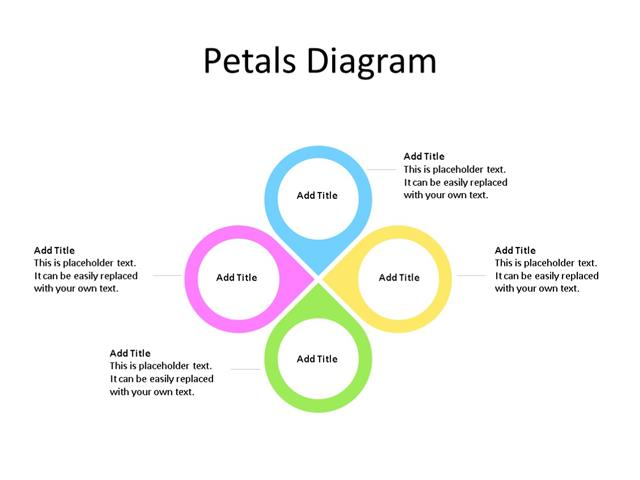 PowerPoint Slide - Petals Diagram - 4 Petals - Multicolor