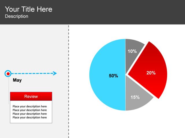 Powerpoint Slide Pie Chart Diagram 4 Pieces Timeline 1 Block