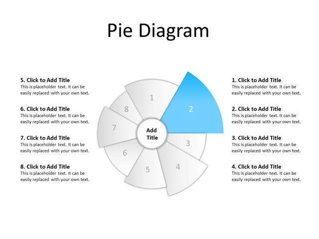 PowerPoint Slide - Pie diagram - 8 sectors - Multicolor