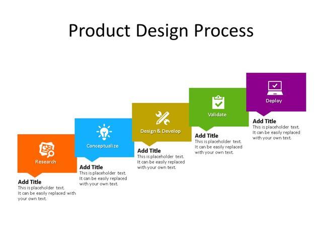 PowerPoint Slide - Business Process Diagram - 5 Steps - Multicolor