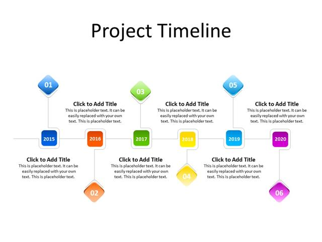 PowerPoint Slide - Timeline Diagram - 6 year - Multicolor