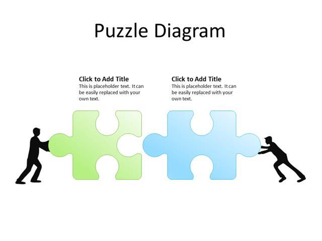 PowerPoint Slide - Puzzle diagram - 2 puzzles - Multicolor