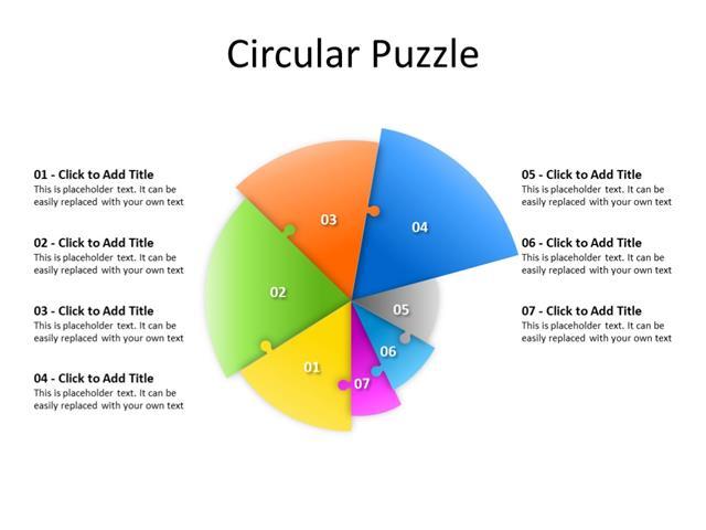 PowerPoint Slide - Pie diagram - 7 pie - Multicolor