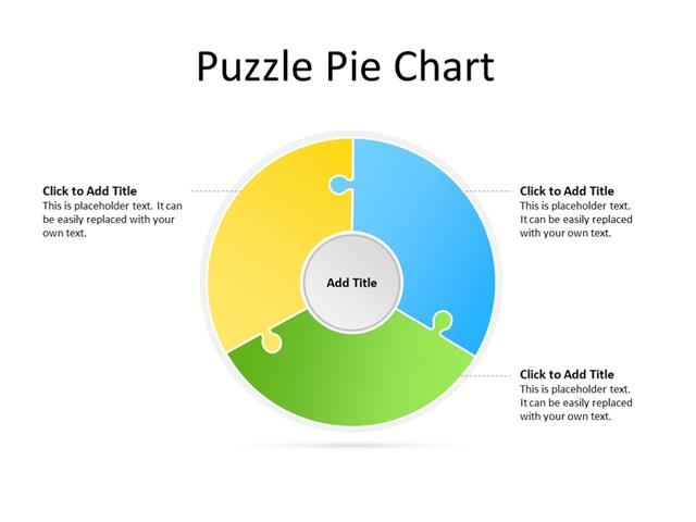 PowerPoint Slide - Puzzle Diagram - 3 pieces - Multicolor