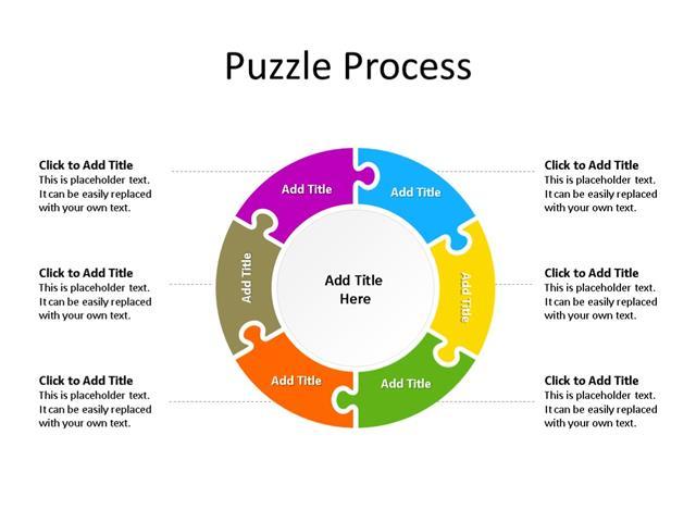 PowerPoint Slide - Puzzle Diagram - 6 Pieces - Multicolor