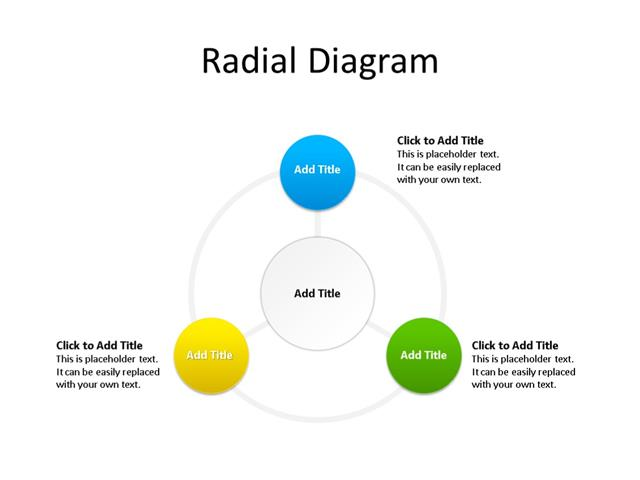 PowerPoint Slide - Radial Diagram - 3 Items - Multicolor