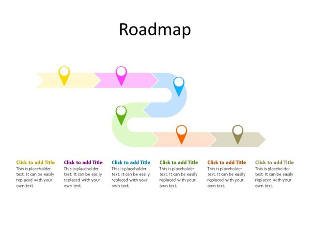 PowerPoint Slide - Timeline Diagram - 6 Stages - Multicolor