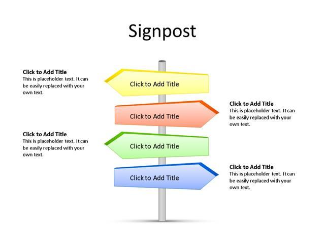 PowerPoint Slide - Signpost Diagram - 4 Pieces - Multicolor