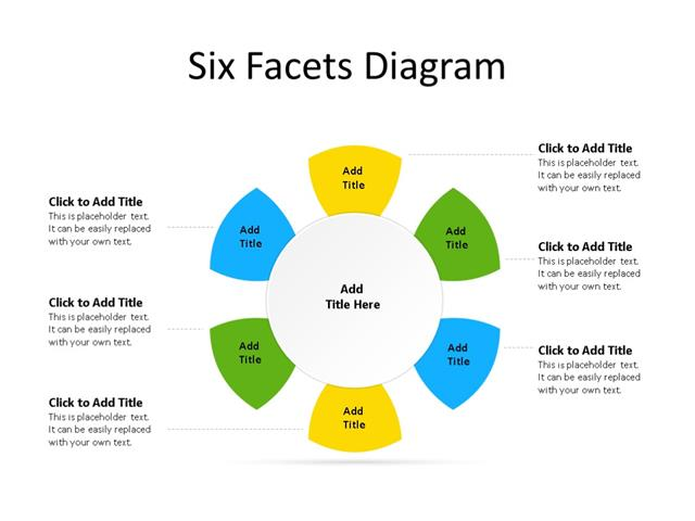 PowerPoint Slide - Radial Diagram - 6 Facets - Multicolor