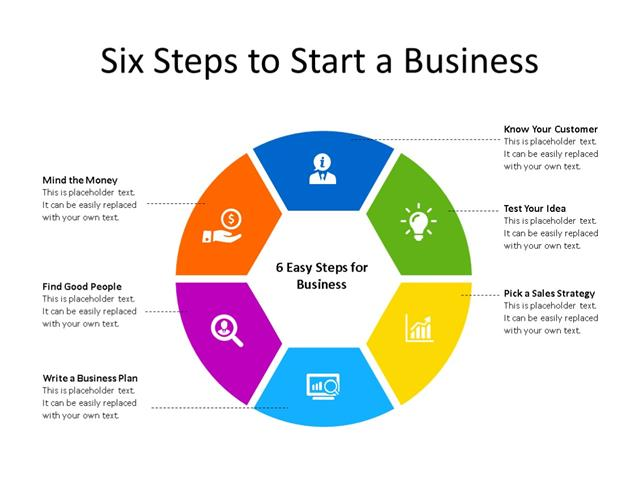 PowerPoint Slide - Business Process Diagram - 6 Steps - Multicolor