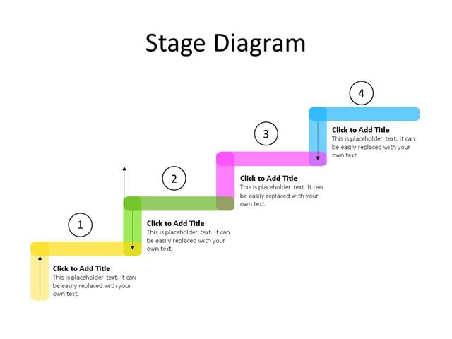 PowerPoint Slide - Stairs Diagram - 4 Stages - Multicolor